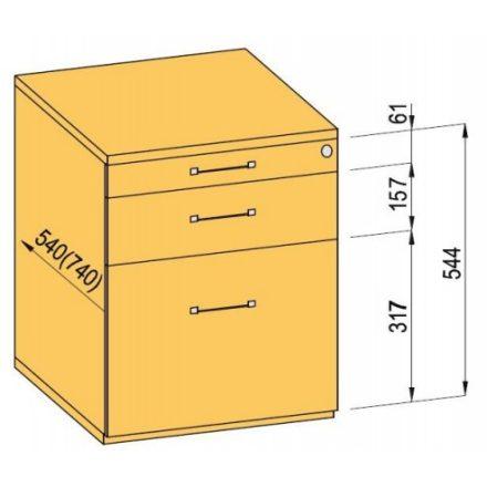 K-BBP Konténer 540mm típus 5/változat 3 (fiók fém,teljes kihuzású sín,beh.)