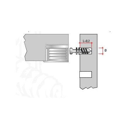 Csap excenterhez polcra TI02 Euro 6x7,5mm