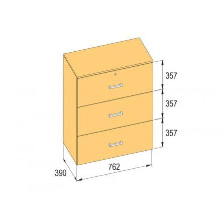 K-BBP R3 típusú irattartó szekrény 762 mm belső szélességhez, 1076 mm magasságho