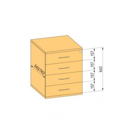 K-BBP Konténer 540mm típus 8/változat 4 (fiók fém,teljes kih.sín,beh.,csill.)